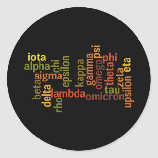 Greek Alphabet (Word Cloud) Classic Round Sticker