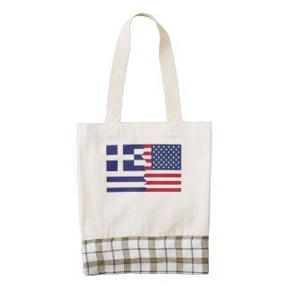 Greek American Flag Zazzle HEART Tote Bag