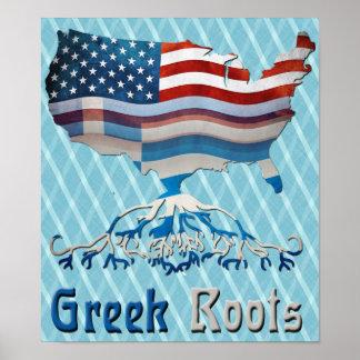 Greek American Flags Poster