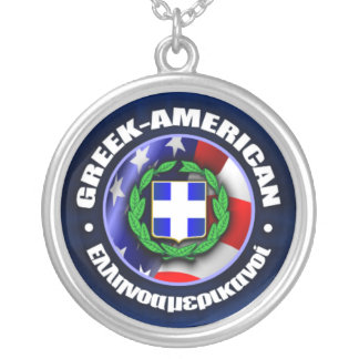 Greek-American Pride Silver Plated Necklace