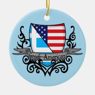 Greek-American Shield Flag Ceramic Ornament