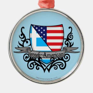 Greek-American Shield Flag Metal Ornament