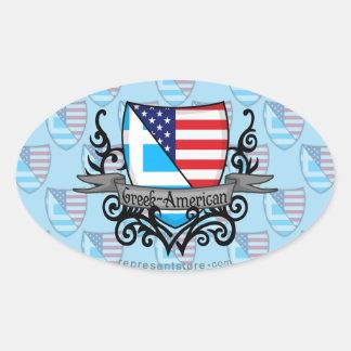 Greek-American Shield Flag Oval Sticker