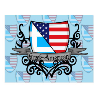 Greek-American Shield Flag Postcard