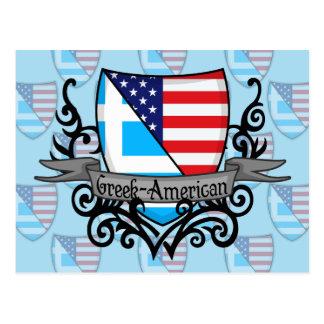 Greek-American Shield Flag Postcard