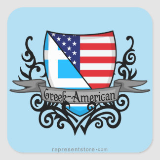 Greek-American Shield Flag Square Sticker