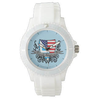 Greek-American Shield Flag Wrist Watch