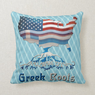 Greek American Throw Pillow, Greek Roots Pillow