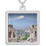 Greek Amphitheatre 2 Square Pendant Necklace