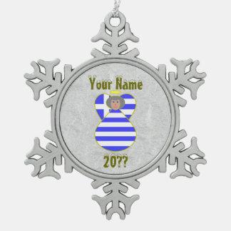 Greek Angel Flag Grey Hair Snowflake Pewter Christmas Ornament