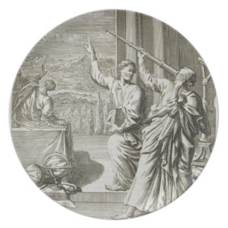 Greek Astronomer Studying the Stars, illustration Dinner Plate