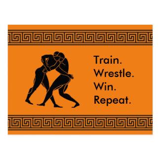 Greek Athlete Sports Wrestling Winning Formula Postcard