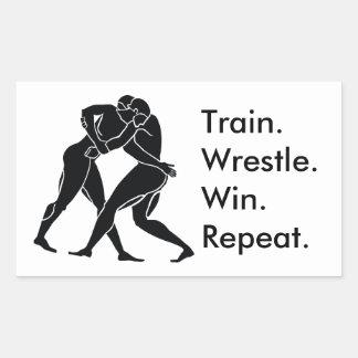Greek Athlete Sports Wrestling Winning Formula Rectangular Sticker