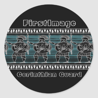 Greek Black Figure Guard Classic Round Sticker