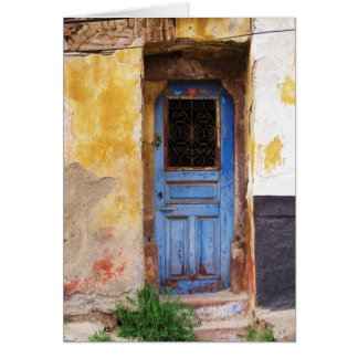 Greek Blue Door - Crete Greeting Card
