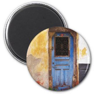 Greek Blue Door - Crete 2 Inch Round Magnet