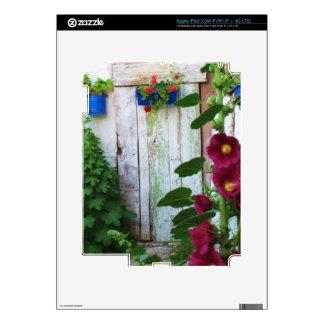 Greek Blue Door in a Flower Garden in Greece Skins For iPad 3