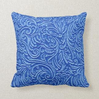 Greek Blue Vintage Tin Tile Look Rustic Home Throw Pillow