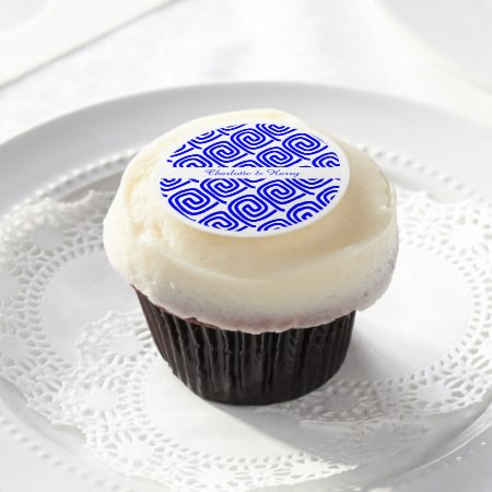 Greek Blue White Traditional Pattern Personalized Edible Frosting Rounds