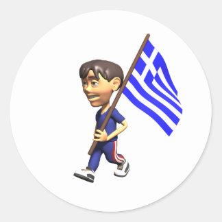 Greek Boy Classic Round Sticker