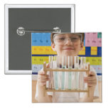 Greek boy holding rack of test tubes 2 inch square button