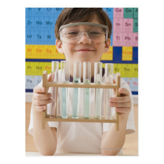 Greek boy holding rack of test tubes postcard
