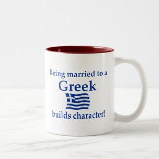 Greek Builds Character Two-Tone Coffee Mug