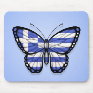 Greek Butterfly Flag on Blue Mouse Pad