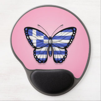 Greek Butterfly Flag on Pink Gel Mouse Pad