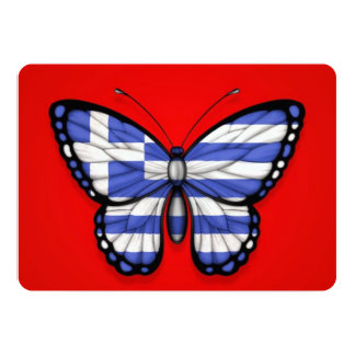Greek Butterfly Flag on Red Invite