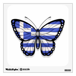 Greek Butterfly Flag Wall Decal