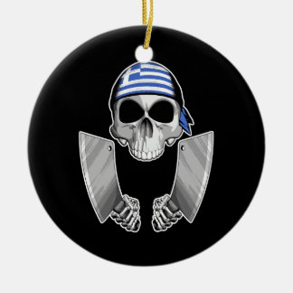 Greek Chef 2 Double-Sided Ceramic Round Christmas Ornament