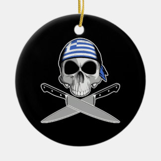 Greek Chef Double-Sided Ceramic Round Christmas Ornament