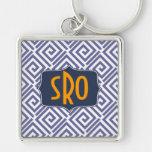 Greek Chic Monogram Keychain Customizable