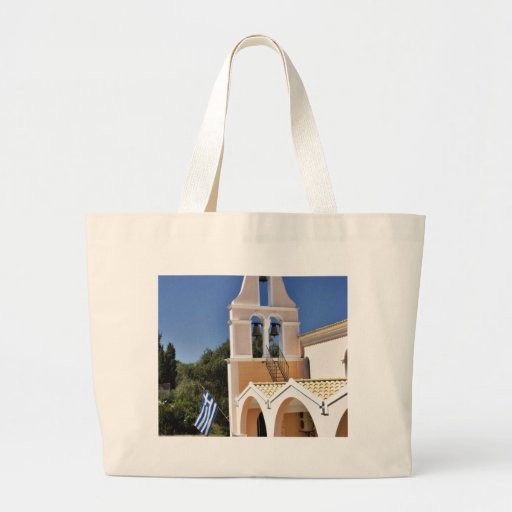 Greek Church In A Summer Day Large Tote Bag