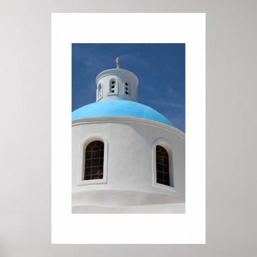 Greek Church in Santorini Poster