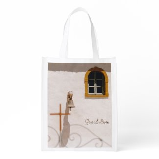 Greek Church With Cross and Bell Grocery Bag