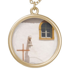 Greek Church With Cross And Bell Paxos Gold Plated Necklace at Zazzle