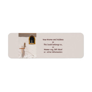 Greek Church With Cross And Bell Paxos Label at Zazzle