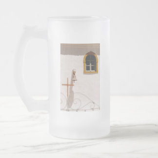 Greek Church With Cross and Bell Paxos Glass Beer Mug