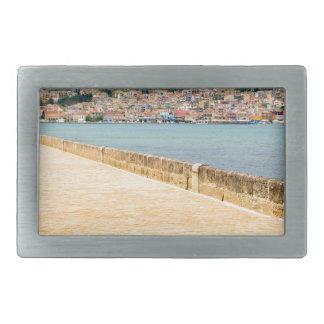 Greek City Port Argostoli with road on bridge Belt Buckle