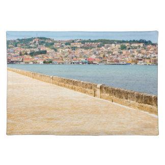Greek City Port Argostoli with road on bridge Cloth Placemat