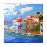 """Greek coast ceramic tile<br><div class=""""desc"""">Mykonos is a Greek island,  part of the Cyclades,  lying between Tinos,  Syros,  Paros and Naxos,  where tourism is a major industry. Mykonos is particularly renowned for its cosmopolitan nightlife; many international celebrities visit the island every summer.</div>"""