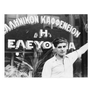 Greek Coffee Shop Owner 1937 Postcard