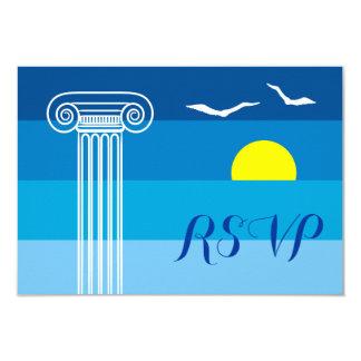 Greek column and seagulls wedding RSVP Card