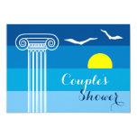 Greek column & seagulls wedding couples shower card