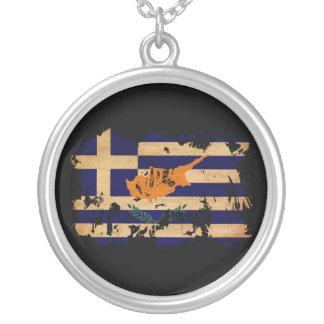Greek Cyprus Flag Round Pendant Necklace