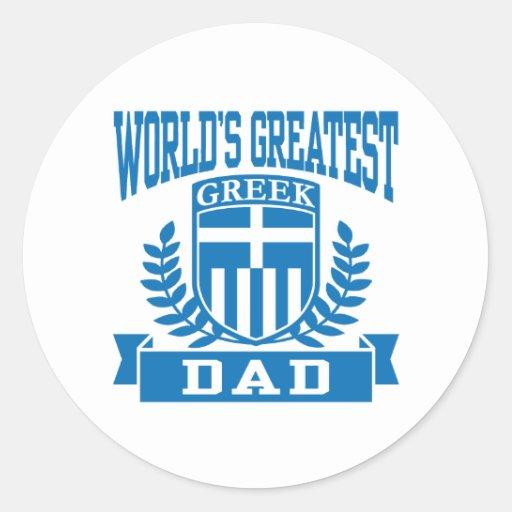 Greek Dad Classic Round Sticker