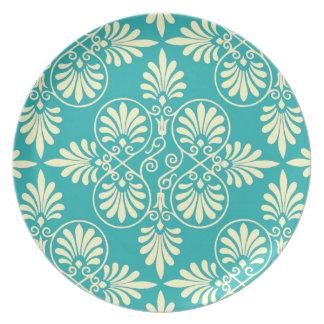 Greek Design Motif Greco-Roman Classic Teal Design Plate