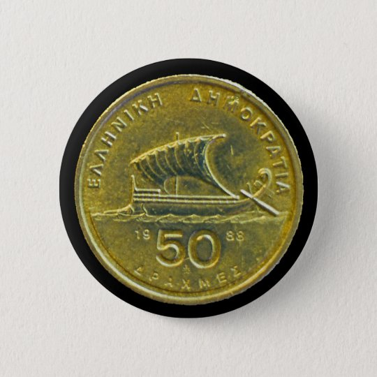Greek Drachma Coins Pinback Button